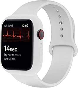 iTecFree Compatible for Apple Watch Band with Case 44mm White,Soft Silicone Sport Bands Wrist Strap with Protective Bumper for iWatch SE Series 6 / Series5 / Series 4 Accessories (White, 44mm)