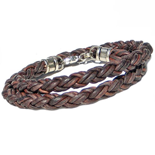 BROWN Braided Leather Rope Bracelet for Men & Women- DOUBLE WRAP- Lucky Dog Leather- Genuine Leather- All Sizes for a Great Fit 7""