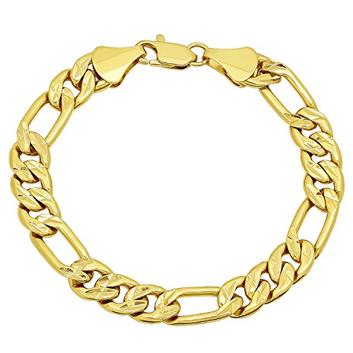 Diamond Bonded Cut Bracelet Gold (The Bling Factory 9mm 14k Yellow Gold Plated Diamond-Cut Figaro Link Chain Bracelet, 8