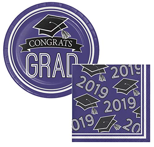 School Colors Graduation Dessert Plates & Napkins Party Kit for 18 (Purple, Class of 2019)