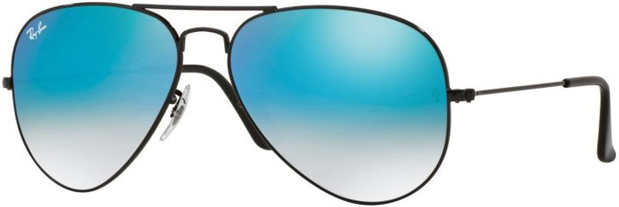 Amazon.com  Ray Ban RB3025 002 4O 58 Shiny Black Blue Mirror Aviator ... 9e8f02ca22