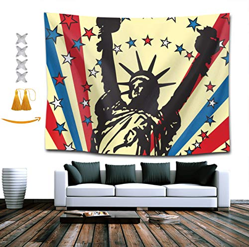 BOYOKO ME Statue of Liberty USA Patriotic American Flag Wall Hanging Tapestry, Psychedelic Wall Art, Room Decor Beach Throw, Indian Wall Tapestries Art 60 x 70 Inches for Dorm Room Bedroom Apartment