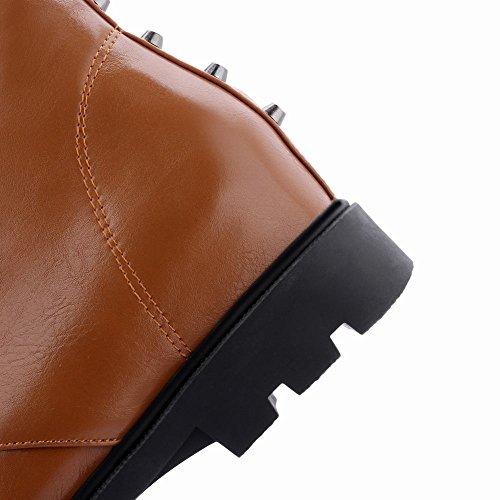 Mee Shoes Damen warm gefüttert runde chunky heels kurzschaft Ankle Boots Gelbbraun