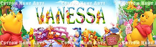 (Personalized Winnie the Pooh Banner Birthday Poster Custom Name Painting Wall Art Decor)