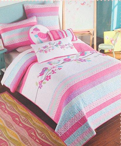 Maggie Miller Girl's Pink Pastel Songbirds and Flowers Quilt - Pink Green Blue Purple, Full/Queen (Bedding Maggie Miller)