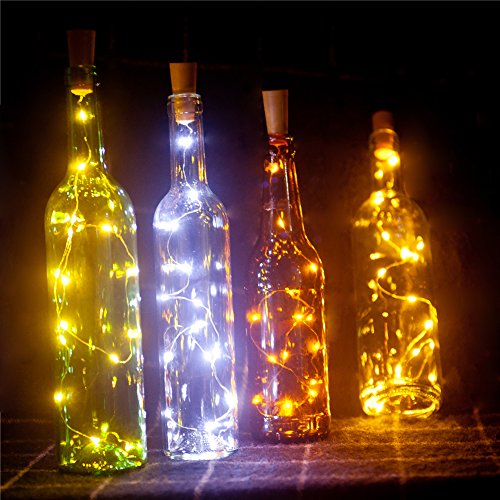 Spark Wine Bottle Lights,Starry Bottle Lamp Kit, Cork Shape Striping Lights ,15-MicroLED, Copper Wire, Battery Light,Rope Lamp,6 Pack (White ), - Heart Light Set