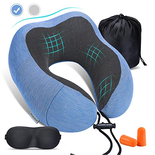 Gugusure Memory Foam Travel Pillow Neck Pillow for Neck Pain with Washable Breathable Pillow Case, Airplane Travel Kit with Sleep Mask, Earplugs, and Luxury Bag, Blue