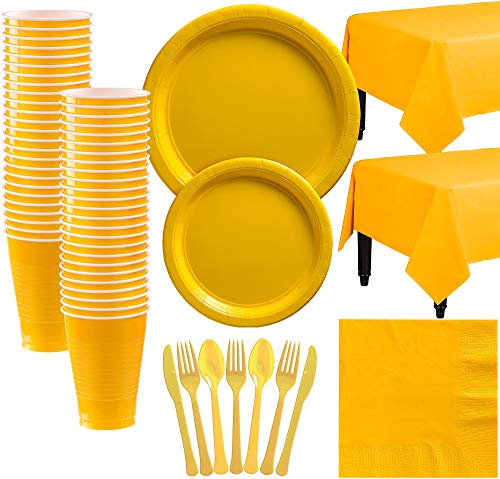 (Party City Big Party Pack Sunshine Yellow Paper Tableware Kit and Supplies for 50 Guests, Includes Table Covers and More)