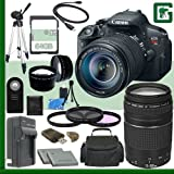 Canon EOS Rebel T5i Digital SLR Camera Kit with 18-55mm STM Lens and Canon EF 75-300mm III Lens + 64GB Greens Camera Package 1