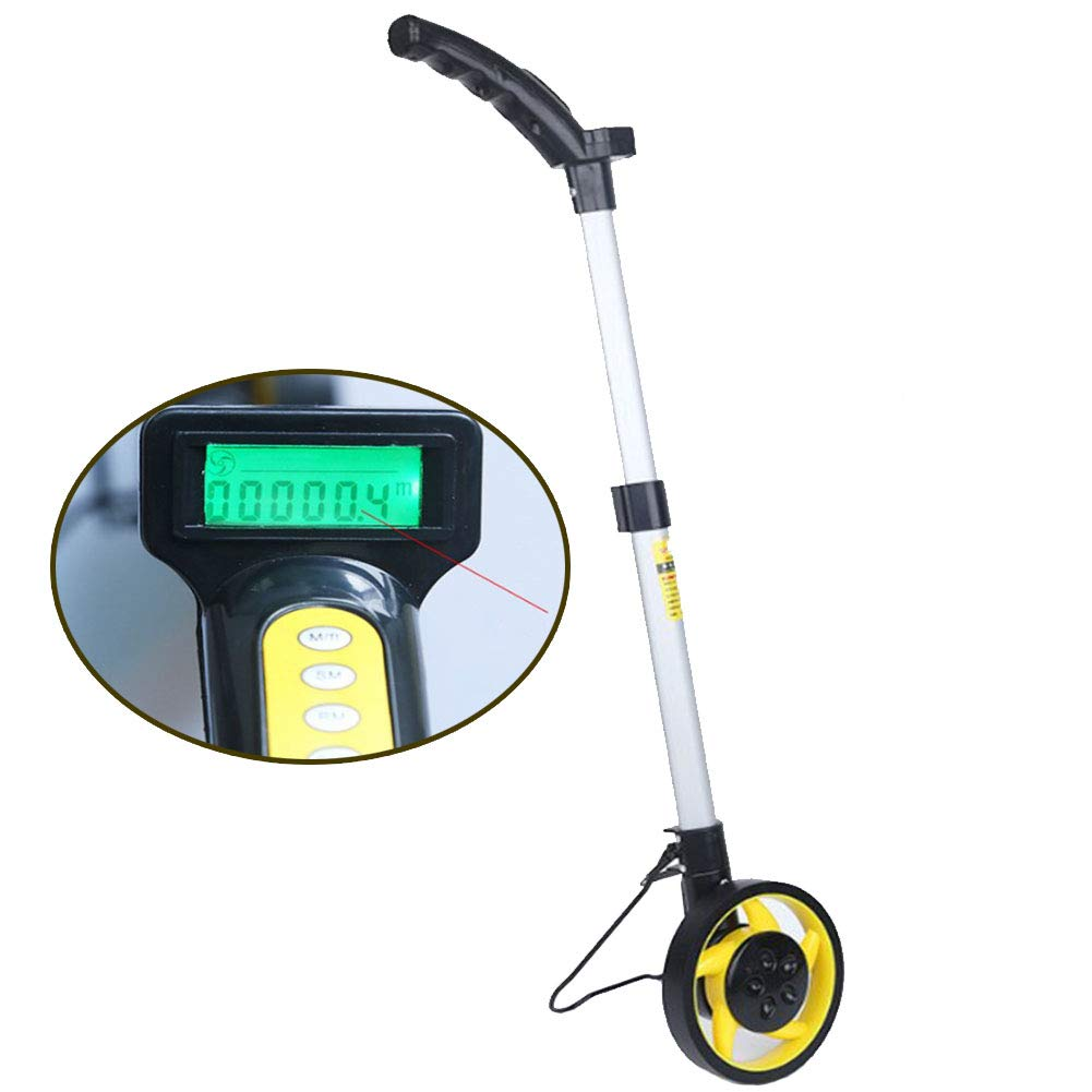 Measuring Wheel Collapsible Digital Distance Measuring Wheel, Walking Wheel Tape with Two Adjustable Sections, Industrial(Diameter 16Cm)