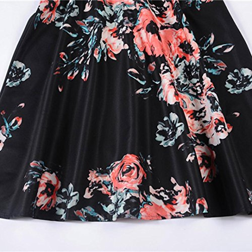 Familizo print dress wind Womens da Donna donna Fami sleeveless Vestito waist Hepburn B qUaqPrxOW