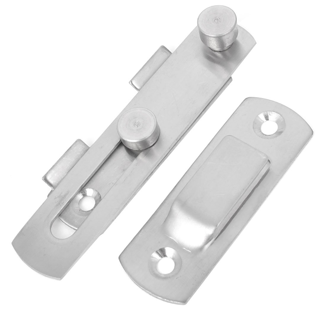 Uxcell a14052100ux0690 Stainless Steel Office Door Latch Catch Bolt Guard Set, Silver Tone