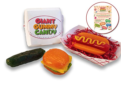 Orange Pickles (GIANT GUMMY COMBO.... Burger (7oz), Hot Dog (7oz) & Pickle (4.5oz) - with a Custom Gift Card)