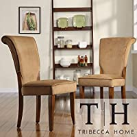 Metro Shop TRIBECCA HOME Andorra Peat Velvet Upholstered Dining Chair (Set of 2)