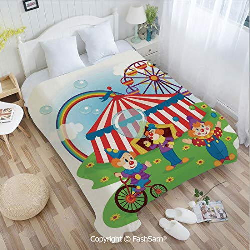 - PUTIEN 3D Print Flannel Blanket Fun Circus Scene with Clowns on Grass Rainbow Ferris Wheel Happy Bubbles Childhood Theme Sofa Blanket for Bedroom(49Wx78L)