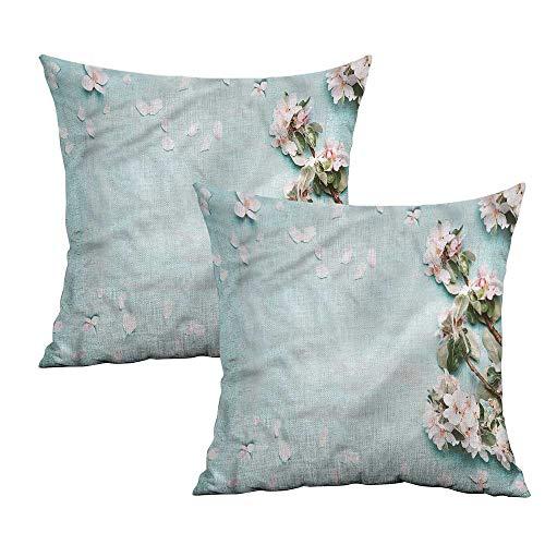 Khaki home Spring Square Kids Pillowcase Japanese Cherry Blossoms Square Kids Pillowcase Cushion Cases Pillowcases for Sofa Bedroom Car W 24