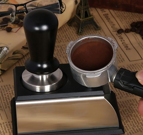 Pevor Stainless Steel Coffee Tamper with Aluminum Handle 58mm Espresso Barista Base 30lb Coffee Bean Press