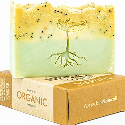 (Turmeric Soap - Handmade with Turmeric, Green Clay and Essential Oils of Patchouli & Lavender, All Natural Glycerin Soap Bar Made w/Organic Ingredients, Handcrafted in USA 4.7oz )