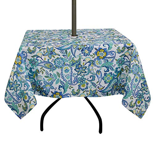 ColorBird Modern Paisley Flower Tablecloth Waterproof Table Cover with Zipper Umbrella Hole for Patio Garden Tabletop Decor (Square, 60
