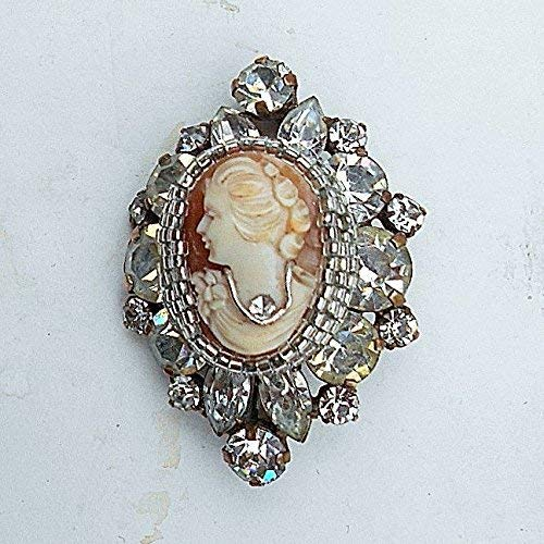 Vintage Hand Carved Shell Habille Cameo Art Deco Brooch Pendant of Sparkling Large Rhinestones Brooch with Pendant Converter.