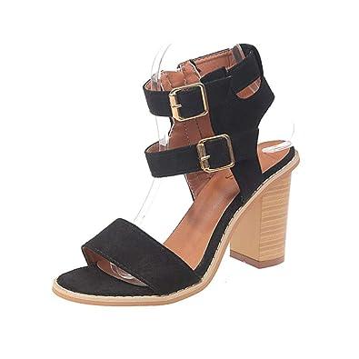 b11fb3d096 Damen Sandalen Plateau Sandaletten mit Blockabsatz Sommer Schuhe High Heels  Pumps Slingbacks Strandschuhe Plateau Offene Schuhe