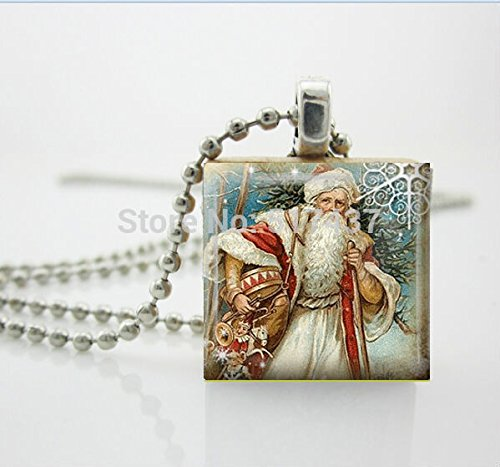 Pretty Lee Cr29-Christmas Necklace Christmas Jewelry Glass Tile Necklace Vintage Santa Jewelry Santa Glass Tile (Vintage Pendant Kiss Glass)