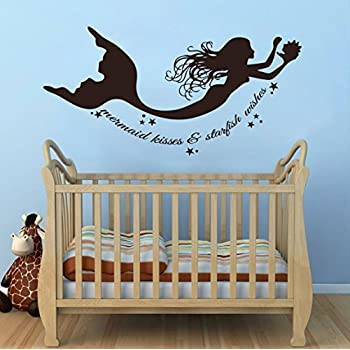 Wall Decal Decor Mermaid Wall Decals Quote Mermaid Kisses U0026 Starfish Wishes Vinyl  Decal Sticker Baby