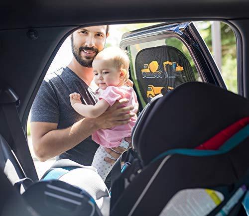 HECKBO/® Selbsthaftende Auto Sonnenblende inkl 2 St/ück gratis Tasche Sonnenschutz f/ür Kinder   f/ür Seitenfenster /& Heckscheibe Motiv: Baufahrzeuge