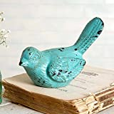 CTW 420072 Decorative Small Cute Bird Figurine Statue for Indoor Outdoor Patio Home Office Garden Cottage Home Decor Cast Iron Metal Rustic Farmhouse Country Chic Style Distressed Turquoise