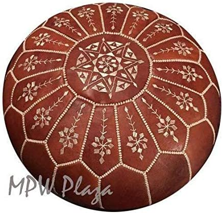 MPW Plaza, Arch Design, Moroccan Leather, Pouf, Ottoman, 20 D x 14 H Stuffed Rustic Brown