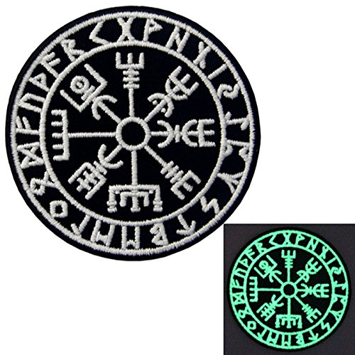 Viking Patch (EmbTao Glow In Dark Vegvisir Viking Compass Norse Rune Morale Tactical Embroidered Applique Iron On / Sew On Patch)