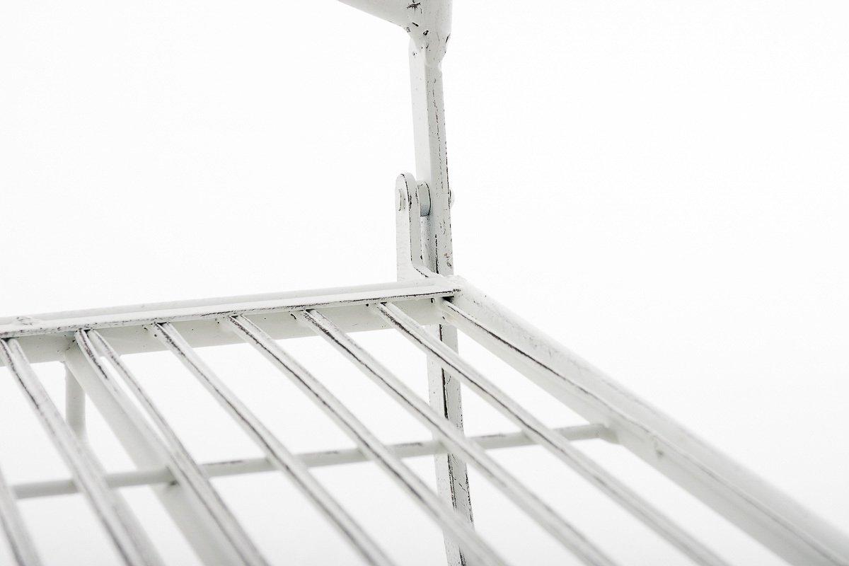 Sedia Giardino con Schienale Bianco Antico CLP Sedia Pieghevole in Ferro Adelar Sedia da Giardino r/étro Nostalgica Sedia da Terrazzo Decorata Bistrot Richiudibile