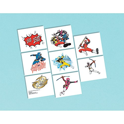 Power Rangers 'Ninja Steel' Tattoos (8 count / 1 sheet) Birthday Party Supplies (Tattoo Rangers)