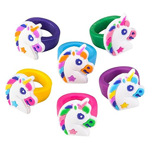 """Unicorn Rubber Rings for Girls - Pack of 36 1"""" Multi-Colored Accessory Toy for Kids and Teens, Party Favors, Magical Birthday Theme, Surprising Gift, Arts and Craft by Kidsco"""