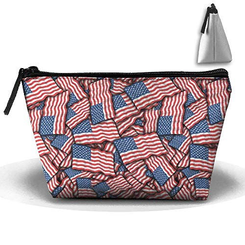 USA Flag Pattern Waterproof Trapezoidal Bag Cosmetic Bags Makeup Bag Large Travel Toiletry Pouch Portable Storage Pencil Holders -