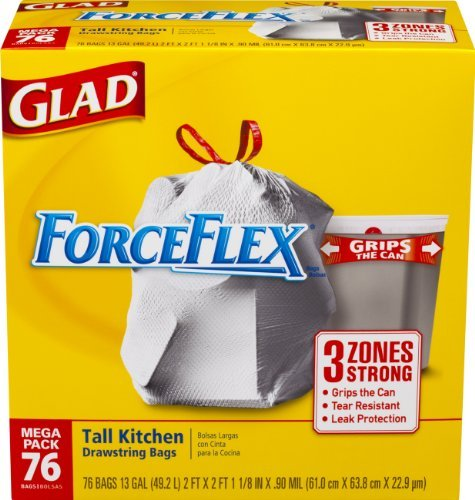 ForceFlex Tall Kitchen Drawstring Trash Bags, 13 Gallon,