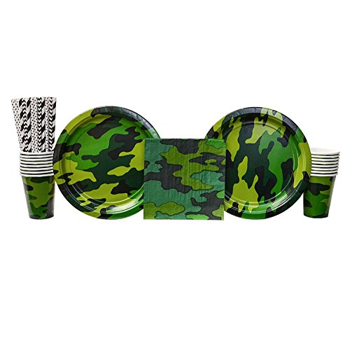 Camouflage Birthday Party Supplies Pack for 16 Guests | Straws, 16 Dinner Plates, 16 Luncheon Napkins, and 16 Cups | Camo Party Supplies Great For Your Military Themed Party Or -