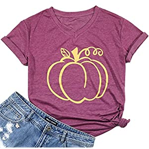 Halloween Pumpkin Funny T-Shirt Women Short Sleeve v-Neck Casual Tee Tops Size XL (Red)