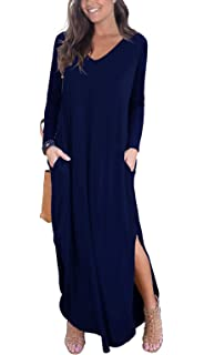6a8eb67be0ab GRECERELLE Women's Casual Loose Pocket Long Dress Long Sleeve Split Maxi  Dresses