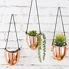 MyGift Metallic Rose Gold-Tone Ceramic 5-Inch Hanging Planters, Set of 3