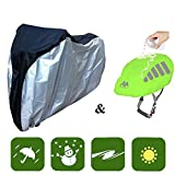 Bike Covers + Bike Helmet Cover, AYAMAYA 26'' Big Size Heavy Duty Motorcycle Biycle Dust Wind Rain Sun Proof Covers with Carry Bag & High Visibility Waterproof Cycling Helmet Rain Cover for Cycling
