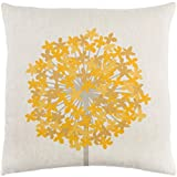 18'' French Fry Yellow and White Woven Decorative Throw Pillow – Down Filler