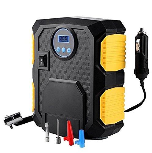 Mbuynow Compresor de Aire Auto Inflador de Neumático Portátil 12V/100PSI Presión Preestablecida de los Neumáticos, para/Bici/Coche/Motocicleta/Baloncesto Fútbol