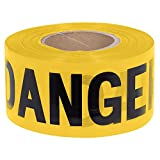 "Pioneer V6310360-O/S ""Danger"" Safety Barricade Tape, Indoor/Outdoor Black on Yellow Background, 3' X 1000'"
