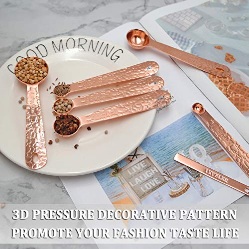 FENG@YE Copper Measuring Spoons Set of 7 w/ Leveler Heavy Duty Stainless Steel Engraved Stackable Nesting Embossed Decorative Kitchen Teaspoon/Tablespoon for Cooking & Baking (Rose Gold)