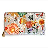 Nathalie Lete Luxury Genuine Leather Zip Around Long Wallet Purse with Gift Box (Mickey Flower)