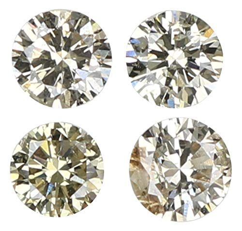 Natural Loose Diamond Round Brown Color I1 Clarity 4 Pcs 0.26 Ct L5719 ()