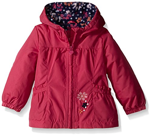 London Fog Baby Girls' Floral Printed Fleece Lined Jacket, Fuchsia, 18 Months by London Fog