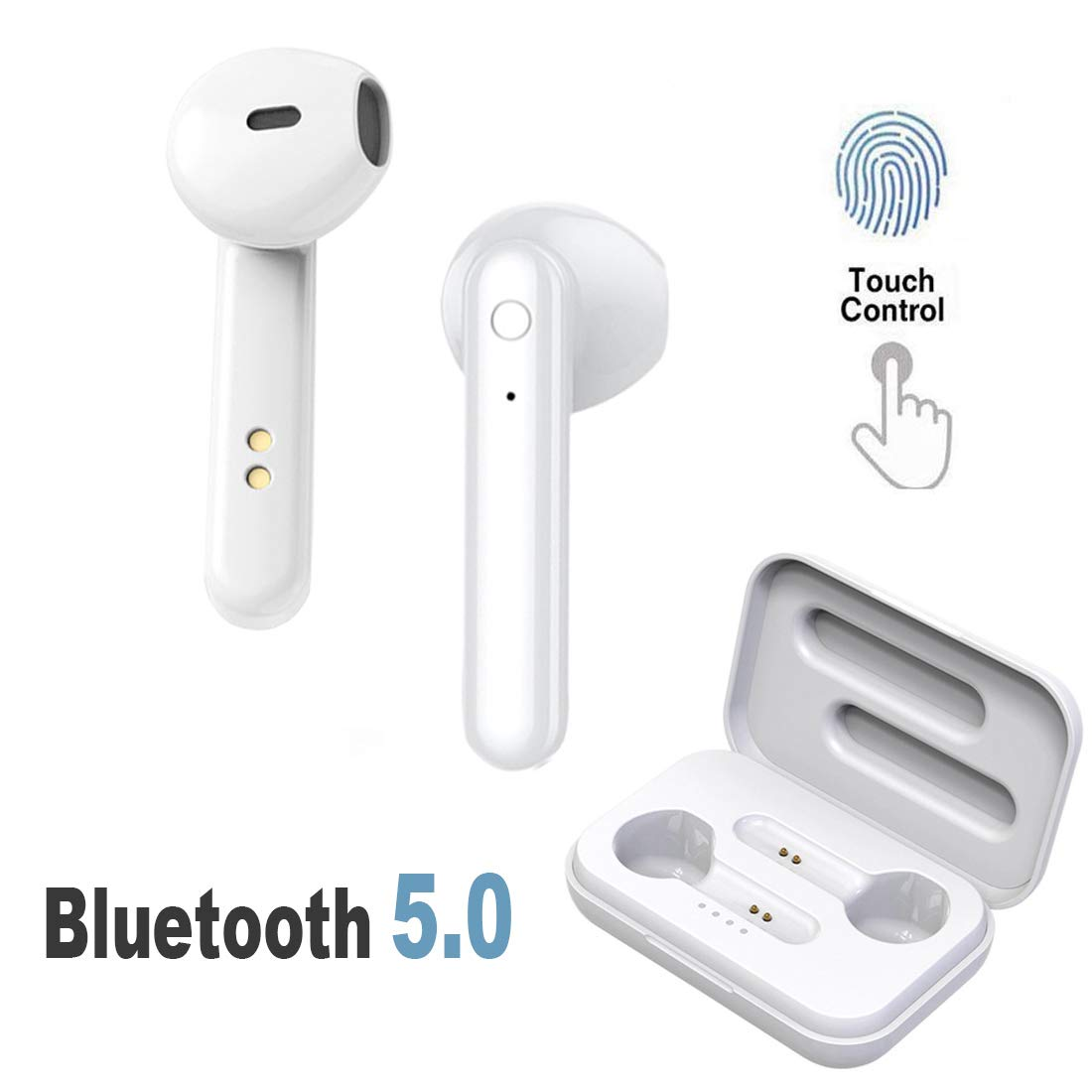 HonkTai Bluetooth Headphones Touch Control Headset Wireless Earbuds Noise Cancelling Stereo Bluetooth 5.0 Headphones Built in Mic Headset Sports in Ear Headphones White