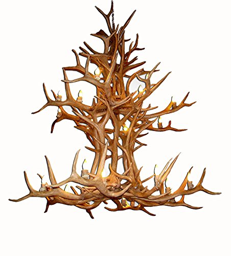 - Reproduction Antler Elk Double Tier Deer Chandelier Light Xlarge